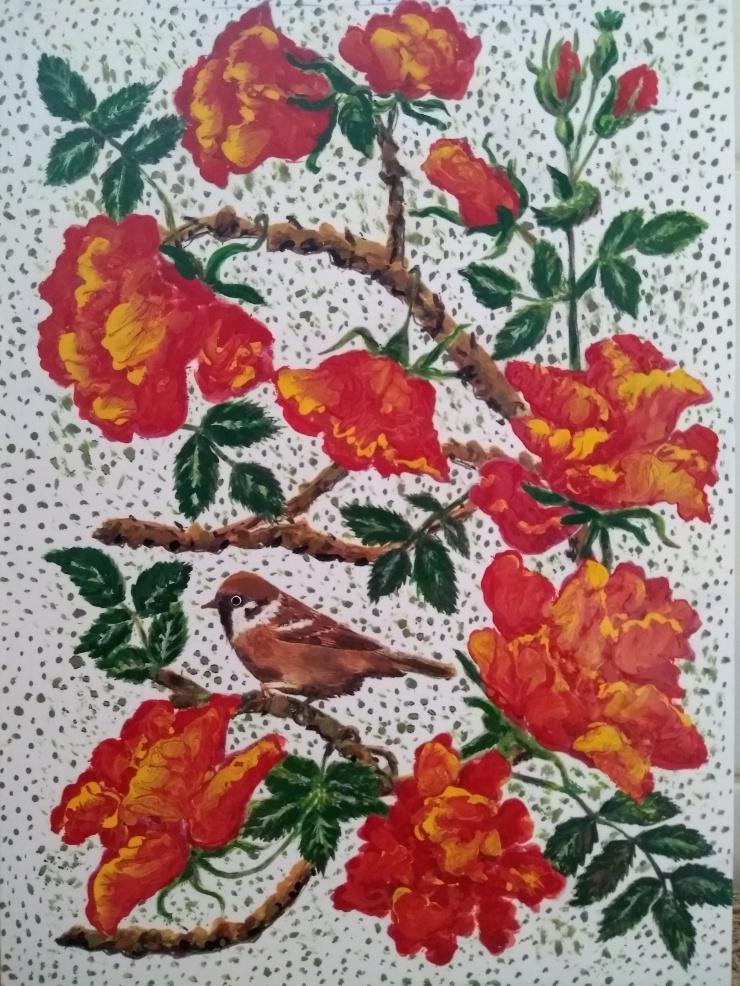 BirdOrangeRoses